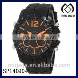 Fashion sporty quartz watch orange marker for men/Men's Sport Watch with Black Rubber Band