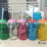 cheap painted colored 200ml glass milk bottles with lids and straws                                                                         Quality Choice