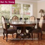 Rubber wood round dining table with leather and fabric chairs for dining room furniture sets AA-215