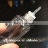 PET 10ML needle shape inner plug e smoke oil dropper bottle with security and pressure screw double insurance cap