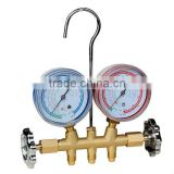 R-134a 2-valve brass manifold 68mm and 80mm gauge optional PR4452