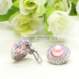 Round shaped colored pearl crystal clip on earrings