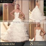 New arrival product wholesale Beautiful Fashion sheer neck covereed back heavy lace wedding gown