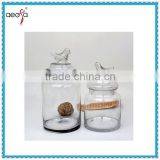 New Design large large apothecary candy stash jars with bird lid set