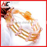 wholesale new arrival pink crystal handmade glass beads bracelet