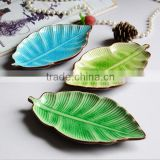 Beautiful crackled glazed areca leaf ceramic dinner plate