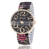 2015 new stylish designed big digital number geneva watch with colourful strap