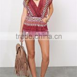 Women 2015 summer slip shoulder V-neck boho romper girls playsuit SYA15332                                                                         Quality Choice