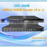COL5181B MPEG-2/MPEG-4 Digital TV Headend Equipment CATV Encoder (8 in 1) with 8 channel TS multiplexing