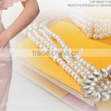 simple fashion all-match ladies and women white pearl beads elastic wide decoration waist belt for dress and shirt