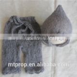 Knit Baby Pants And Hat Newborn Photo Prop Set Luxury Mohair Bonnet And Pants Baby Props