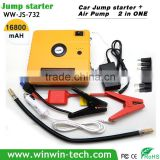 Multifunction Diesel Car Emergency 18650 jump start battery booster with Integrated Air Pump Compressor