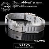 Noproblem germanium tourmaline power silicone FDA approved energy magnetic silver bracelet