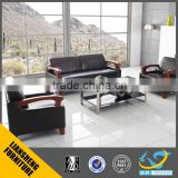 2016 Luxury italian black top grade office leather sofa with wooden frame