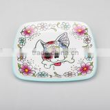 Personalized Melamine Plate Children Dinnerware Toddler Kids food Tray Preppy Plate