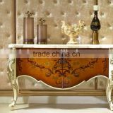 European Style Luxury Console Table, Parquet Pattern Wooden Corner Table, Nice Carving Storage Cabinet (BF01-ML042)