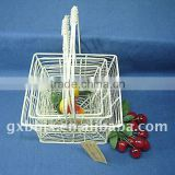 Square creamywhite wire storage fruit&fry basket