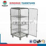 Foldable security roll trolley logistics pallet Security Demountable Roll Pallet metal cage wire container