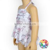 New Kids Girls Summer Latest Bathing Suits Flamingo Pattern Design Ruffled Sexy Girls Two Pieces Swimwear