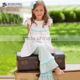Grey\Blue Stripe Ruffle Tunic and Triple Ruffle Pants Set 2015 Fall Giggle Moon Remake Outfits