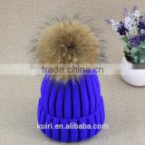 Women Beanies with Fox Fur Pompom Genuine Fur Ball Ski Cap Bobble Hat 15cm Fluffy