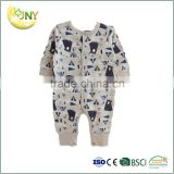 Wholesale China newborn baby clothes romper bear printed long sleeve soft cotton baby boy romper