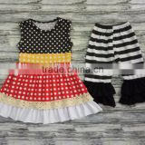 Yiwu hot sale children clothes boutique girl clothing stripe outfits wholesale china