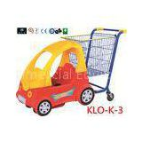 Cute Chrome Little Kids Shopping Carts With Plastic Children Car / Kiddie Shopping Carts