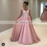 Pink Sweet Sweetheart Spaghetti Strap Sleeveless Ball Gown Chiffon Appliqued Backless Evening Dresses