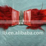 pu belt with feather