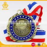 3D Custom Basketball Award Medal in Antique Gold Finishing