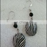 black handmade fimo clay earring