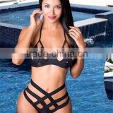 2016 New cut out high waist bikini underwire push up bikini bandage high waist swimsuit cut out swimwear halter bathing suits