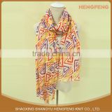 Wholesale Women Custom Fashionable multi colored 100% polyester printed chiffon Neck Scarf