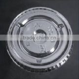 74mm crystal clear disposable PET/plastic flat lid for various paper ice cream cup, plastic sauce cup with straw cross