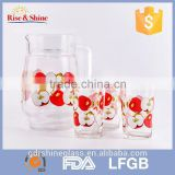 Wholesale 7pcs set of 4 inch glass water pitcher glass bottle&cup with pattern                                                                         Quality Choice