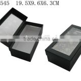 Custom Black Paper Gift Packaging Paper Box with Clear PVC Window Manufactures China P1545