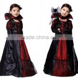 girls wholesale Halloween Costumes Vampire Queen Children Costume Halloween Kids Black Lace Party Dress Necklace Set