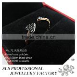 2015 Fashion jewelry silver micro setting black plated cz designs silver 925 wedding ring for women