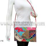 Attractive colors custom made embroidered bags from India, stylish purses with sling for ladies evening clutch bags