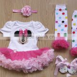 Baby Clothing 2015newborn baby clothes baby rompers tutu dress +head band+shoes+leggings 4pcs girls clothing sets Kids VestSK-12