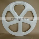 five spoke carbon wheel front for track bike clincher with white painting