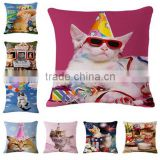 Carton cats cotton linen 3d digital printed cushion covers and pillow cases                                                                                                         Supplier's Choice
