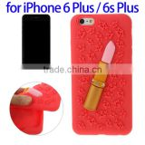 3D Lipstick Pattern Silicone Case for iPhone 6 Plus, China Supplier Case for iPhone 6s Plus