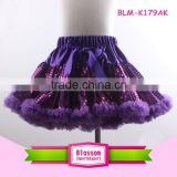 Fluffy princess girls fancy sparkle skirts party wear ruffle tulle girls fairy pettiskirt kids tutu skirt