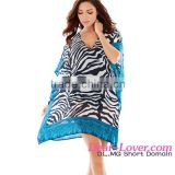 Contrast Border Trim Zebra Tunic cover up beach dress for women