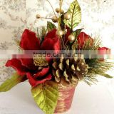 "2011 New Style Artificial Flowers Christmas Flowers -8"" High Christmas Magnolia Pot"