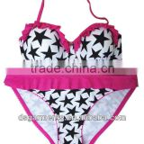 wholesales Star printing underwired Fashion cheap stringsStock bikini tops