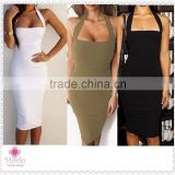 Fashion backless knee length club evening sexy one piece girl party dress