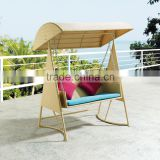 All weather Outdoor Rattan Hanging Chair Wicker Hammock Double Swing Bed